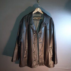 XL brown leather Members Only coat